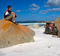 Biker at the Bay of Fires |  <i>Andrew Bain</i>