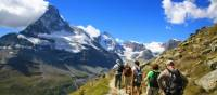Walking in the Alps with the iconic Matterhorn in the distance